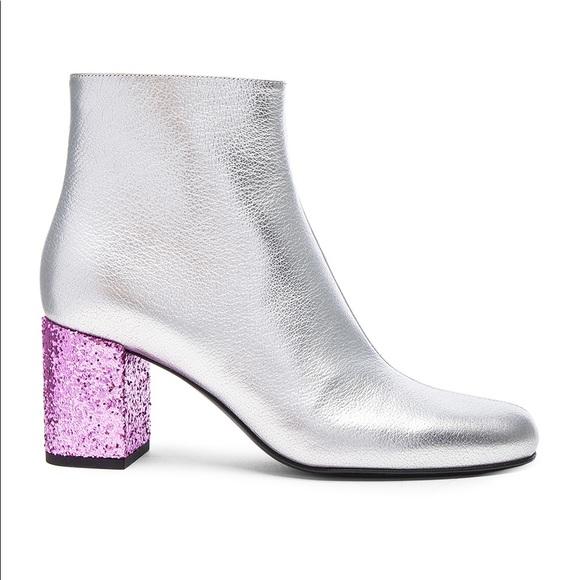 Saint Laurent Silver Pink Glitter Boots
